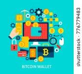 bitcoin wallet flat concept....   Shutterstock .eps vector #776779483