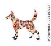 isolated dog in tribal style.... | Shutterstock .eps vector #776807137