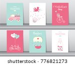 set of valentine's day card on... | Shutterstock .eps vector #776821273