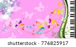 butterfly piano music notes... | Shutterstock . vector #776825917