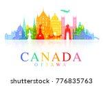 canada travel landmarks. vector ... | Shutterstock .eps vector #776835763