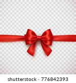 bow and red satin ribbon... | Shutterstock .eps vector #776842393