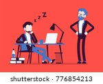 sleep at office work. young...   Shutterstock .eps vector #776854213