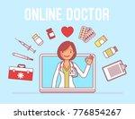 online doctor service. female... | Shutterstock .eps vector #776854267