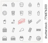 fast food line icons set | Shutterstock .eps vector #776876203