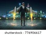 businessman wear a rocket suit... | Shutterstock . vector #776906617