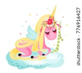 cute unicorn baby  magical...   Shutterstock .eps vector #776916427