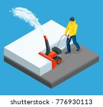 a man cleans snow from... | Shutterstock .eps vector #776930113