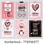 valentine s day card set   hand ... | Shutterstock .eps vector #776936377