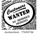 customers wanted   retro ad art ... | Shutterstock .eps vector #77694736