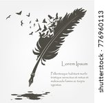 writing old feather with flying ... | Shutterstock .eps vector #776960113