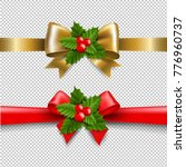 golden and red bow with holly... | Shutterstock .eps vector #776960737
