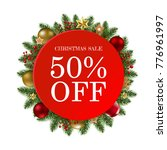 christmas sale banner with... | Shutterstock .eps vector #776961997