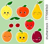 cute cartoon fruit symbols set... | Shutterstock . vector #777008563