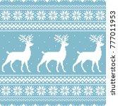 christmas blue knitted winter... | Shutterstock .eps vector #777011953