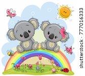 two cute cartoon koalas are...   Shutterstock .eps vector #777016333
