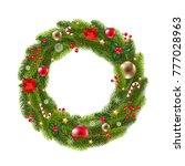wreath fur tree with gradient... | Shutterstock .eps vector #777028963