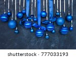 christmas blue balls with blue ... | Shutterstock . vector #777033193