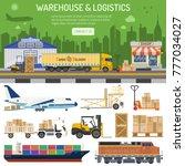 warehouse  logistics banner and ...   Shutterstock .eps vector #777034027