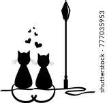lovers. love. loving cats.... | Shutterstock .eps vector #777035953