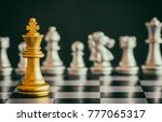 the king in battle chess game...   Shutterstock . vector #777065317