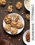 oats cookies on plate over... | Shutterstock . vector #777096817