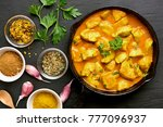 chicken curry in frying pan on... | Shutterstock . vector #777096937