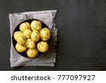 cooked potatoes with dill in... | Shutterstock . vector #777097927