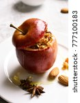 close up of red baked apple... | Shutterstock . vector #777100183