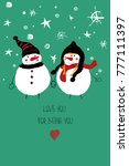 love greeting card with cute...   Shutterstock .eps vector #777111397