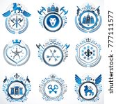 collection of vector heraldic...   Shutterstock .eps vector #777111577