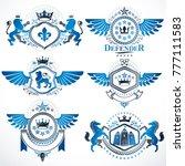 heraldic vector signs decorated ...   Shutterstock .eps vector #777111583