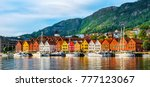 Bergen, Norway. View of historical buildings in Bryggen- Hanseatic wharf in Bergen, Norway. UNESCO World Heritage Site