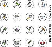 line vector icon set   dolphin... | Shutterstock .eps vector #777135223