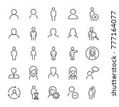set of 25 user thin line icons. ... | Shutterstock .eps vector #777164077