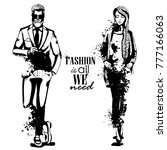 vector woman and man fashion | Shutterstock .eps vector #777166063