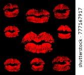 red lips track print set. stamp ... | Shutterstock .eps vector #777167917