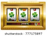 slot machine with three lucky... | Shutterstock .eps vector #777175897