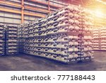 aluminum ingot storage in...   Shutterstock . vector #777188443