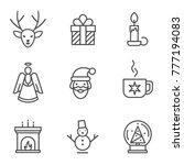 christmas linear icons on white ... | Shutterstock .eps vector #777194083