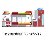 bunk bed room. dormitory room... | Shutterstock .eps vector #777197353