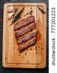 sliced well done grilled steak... | Shutterstock . vector #777201223