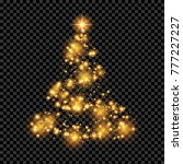 christmas tree on transparent... | Shutterstock .eps vector #777227227
