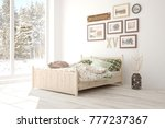 white bedroom with winter... | Shutterstock . vector #777237367