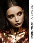 gold woman skin. beauty fashion ...   Shutterstock . vector #777241657