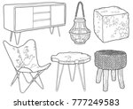 hand drawn cottage furniture | Shutterstock .eps vector #777249583