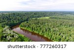 gauja national park aerial view. | Shutterstock . vector #777260317