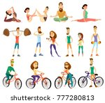 set of fitness characters icons.... | Shutterstock . vector #777280813