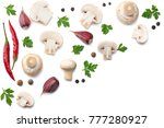 mushrooms with parsley isolated ... | Shutterstock . vector #777280927