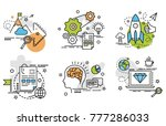 set of outline icons of mission.... | Shutterstock .eps vector #777286033
